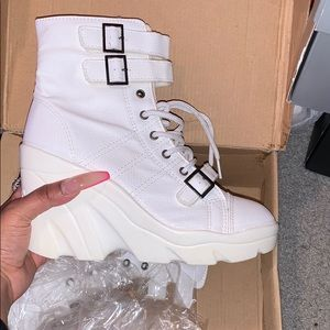 BRAND NEW White Platform/LaceUp Wedge Boots
